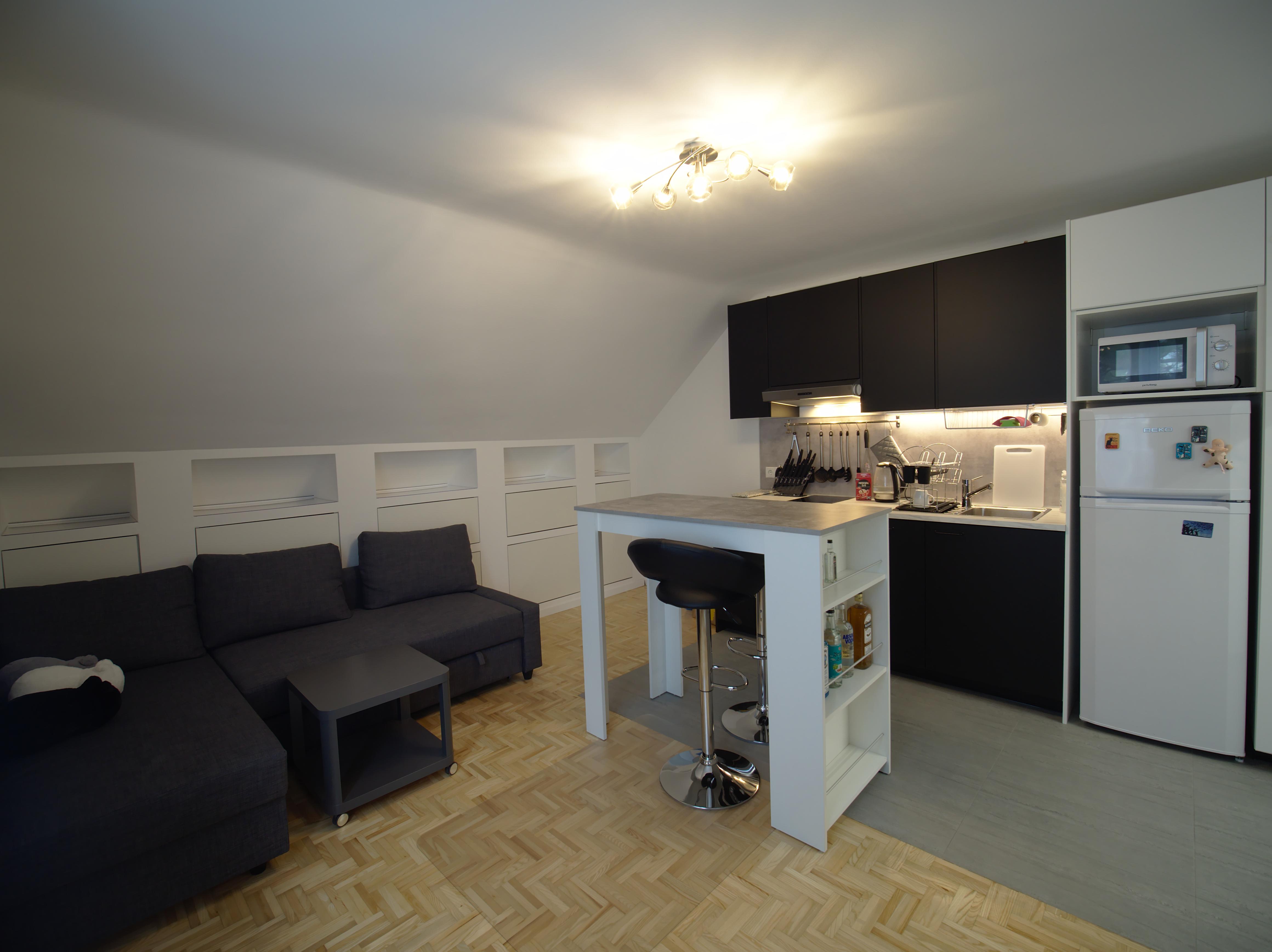 Innen aufnahme, Wohnzimmer, Esszimmer, Küche, kleine Wohnung,