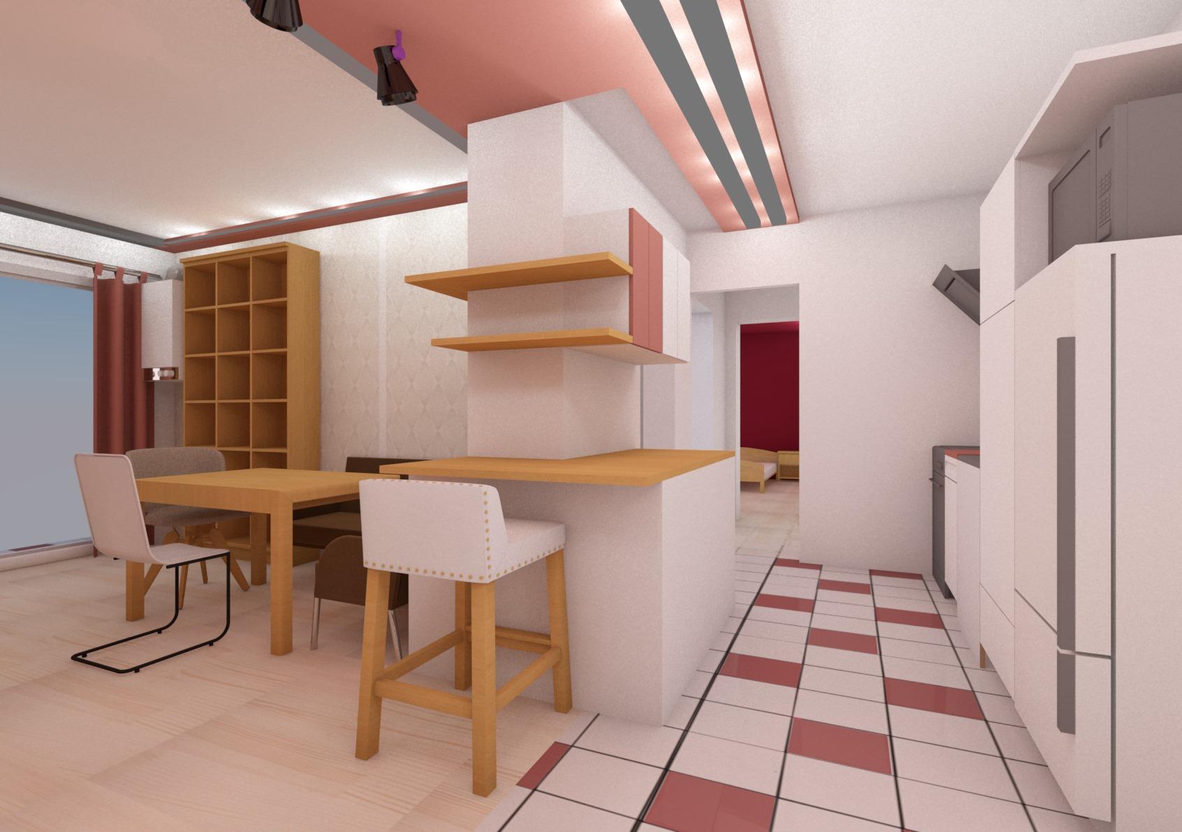 Innengestalltung, Innenausbau, Innenarchitektur, wohnzimmer, Küche, Esszimmer, Bar, Barhocker